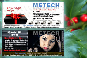 Gift experience vouchers for recording studio and photoshoots